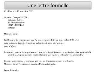 Comment ecrire une lettre en française exemple | Lamalledumartroi
