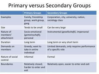 Primary versus Secondary Groups