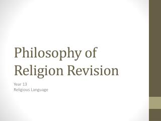 Philosophy of Religion Revision