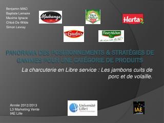Panorama des positionnements & stratégies de gammes pour une catégorie de  produits