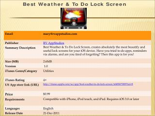 App Store  - Best Weather & To Do Lock Screen