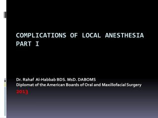 Complications of Local Anesthesia part i