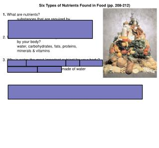 Six Types of Nutrients Found in Food (pp. 208-212) 1.  What are nutrients?