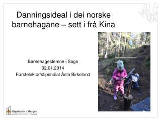 Danningsideal i  dei  norske  barnehagane  – sett i  frå  Kina