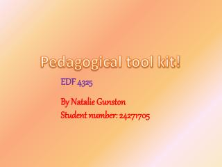 Pedagogical tool kit!