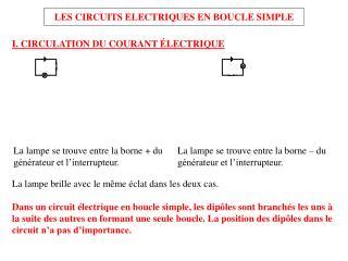 LES CIRCUITS ELECTRIQUES EN BOUCLE SIMPLE