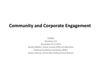 Community and Corporate Engagement