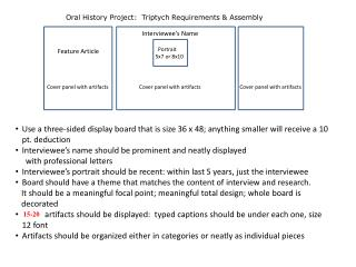 Oral History Project:  Triptych Requirements & Assembly