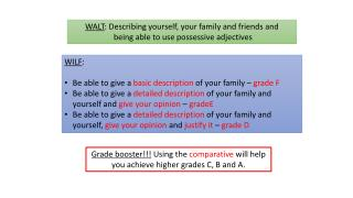 WALT : Describing yourself, your family and friends and  being able to use possessive adjectives