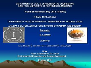 DEPARTMENT OF CIVIL & ENVIRONMENTAL ENGINEERING KING FAHD UNIVERSITY OF PETROLEUM & MINERALS