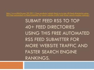 Submit Feed RSS to Top 40+ Feed Directories Using this Free