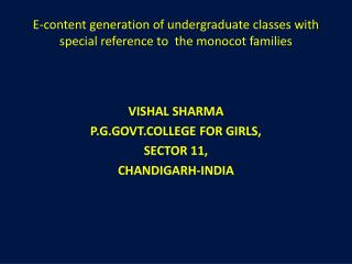 E-content generation of undergraduate classes with special reference  to   the monocot families