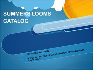 SUMMERS LOOMS CATALOG