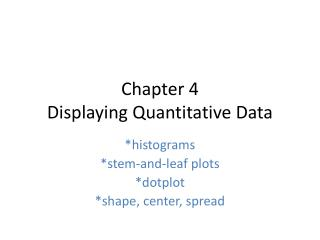 Chapter 4  Displaying Quantitative Data