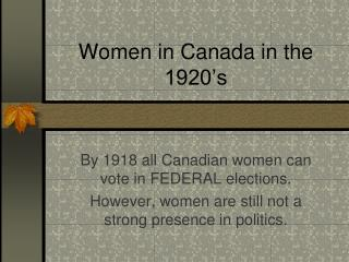 Women in Canada in the 1920's