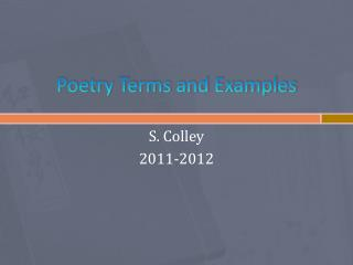 Poetry Terms and Examples