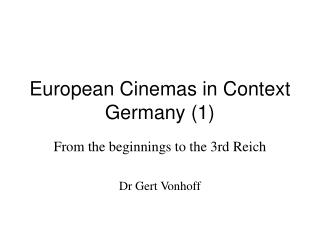 European Cinemas in Context Germany 1