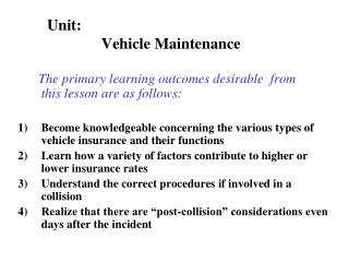 Unit:                  Vehicle Maintenance