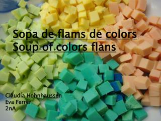 Sopa de flams de colors Soup  of colors  flans
