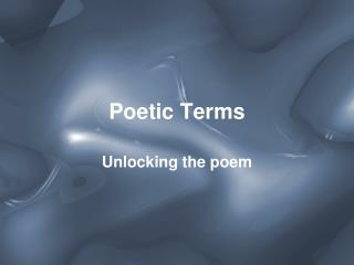 Poetic Terms