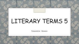 Literary terms 5