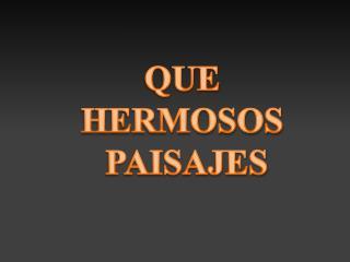 QUE  HERMOSOS  PAISAJES