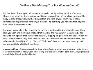Mother's Day Makeup Tips  F or  W omen  O ver 40