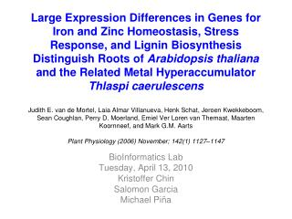 Large Expression Differences in Genes for Iron and Zinc ...