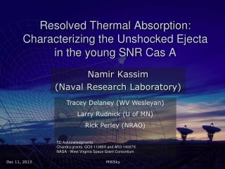 Resolved Thermal Absorption: Characterizing the  Unshocked Ejecta  in the young SNR  Cas  A