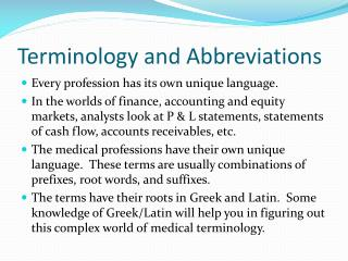 Terminology and Abbreviations