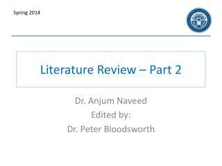 Literature Review � Part 2