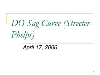 DO Sag Curve Streeter-Phelps