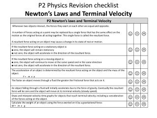 P2 Physics  Revision checklist  Newton's Laws and Terminal Velocity