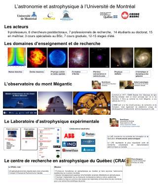 L'astronomie et astrophysique à l'Université de Montréal