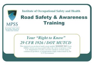 Road Safety & Awareness  Training