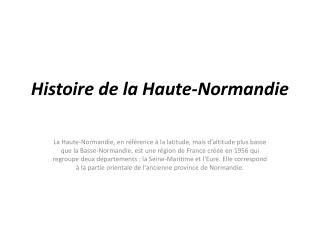 Histoire de la Haute-Normandie