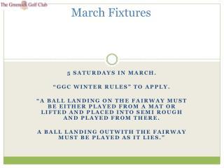 March Fixtures