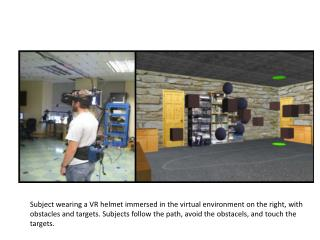 Subject wearing a VR helmet immersed in the virtual environment on the right, with