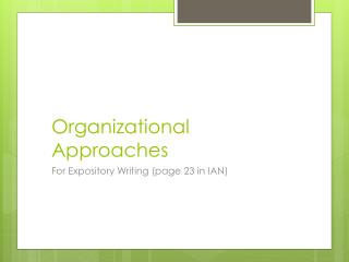 Organizational Approaches