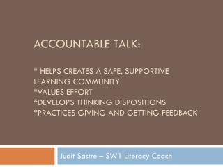 Judit Sastre  – SW1 Literacy Coach