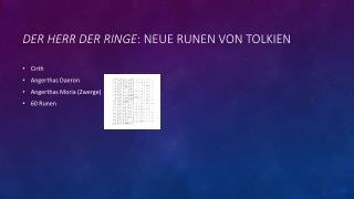 Der Herr der  Ringe :  neue runen  von  tolkien