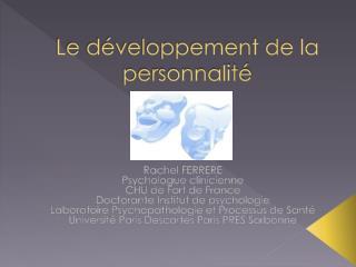 Le développement de la personnalité