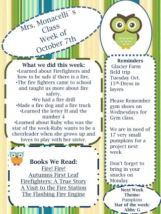 Mrs.  Monacelli`s  Class Week of  October 7th
