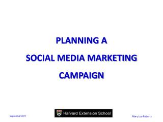 PLANNING A  SOCIAL MEDIA MARKETING CAMPAIGN