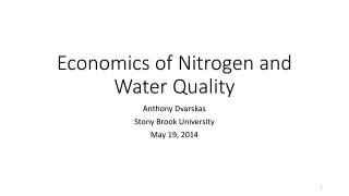 Economics of  Nitrogen and Water Quality