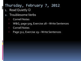 Thursday,  February  7 ,  2012