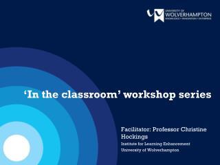 Facilitator: Professor  Christine Hockings Institute for Learning Enhancement