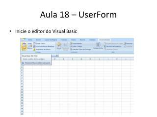 Aula 18 �  UserForm