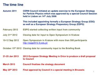 The time line Autumn 2011	 CERN  Council  initiated  an update exercise to the European Strategy