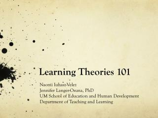 Learning Theories 101